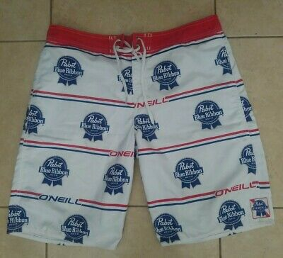 1c903c8080 Pabst Blue Ribbon X Oneill Board Shorts Size 36 Perfect For Summer PBR Beer  Surf