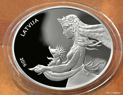 """2016 - Latvia 5 € - 1oz silver - """"Hedgehog's Coat"""" - 2nd issue in Fairy Tales'"""