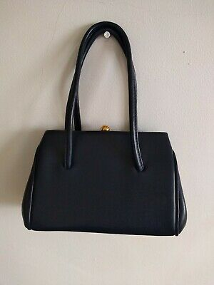 Vintage Chamelle by Essell 50s 60s Blue Faux leather Mod Kelly Handbag