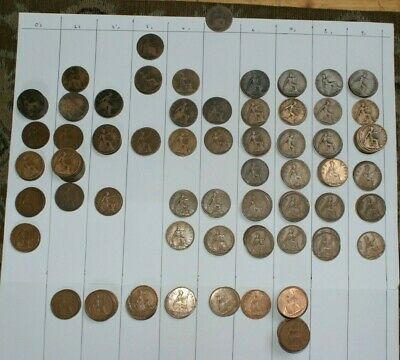 one penny old coins 1875-1967 #219 coins job lot British- Details in listing