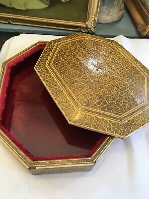 Persian Khatam Kari Octagonal Inlaid Gold  Box Lined In Ruched Velvet