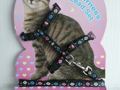 (CH004) Cat Kitten Adjustable Harness & Lead Set Black with Coloured Star Flower