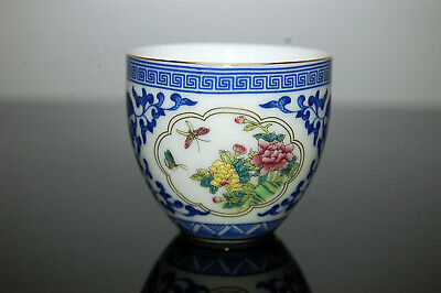 Porcelain Chinese Blue and White Enamel Glazed Tea Wine Cup Peony Butterfly
