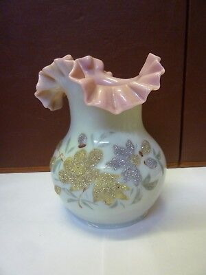 Unusual Victorian Opaline And Pink Glass Frilled Vase