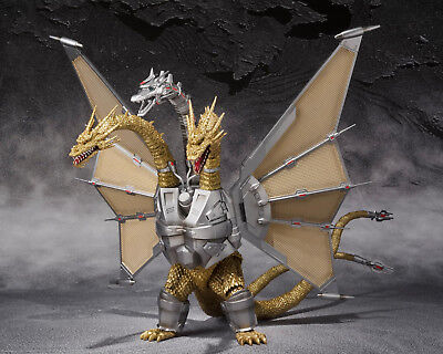 S.H.MonsterArts Godzilla Vs MECHA KING GHIDORAH Mechaghidorah Figure BANDAI. ^^