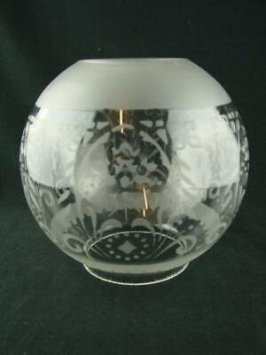 "Antique Etched Glass Globe Oil Lamp Shade 4"" Fitter, Stylised Foliate Decoration"