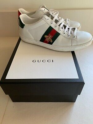 c99415c0f Authentic Gucci Ace Watersnake Trimmed Bee Embroided Leather Trainers UK 3  EU 36