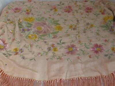 Antique Embroidered Spanish Piano Shawl