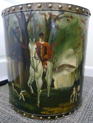Hand Painted Wooden Waste Paper Bin..hose And Hounds Hunting Scene