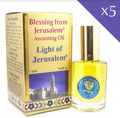 Lot 5 pcs Aromatic Anointing Oil Light of Jerusalem Biblical Spices  0.4fl.oz