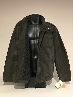 Genuine LEVI'S Mens Olive Sherpa Lined Washed Cotton Military Jacket XL NEW