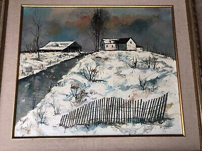 Vintage Original Painting by W. Wyndham, Signed, Framed, Winter Barn Scene