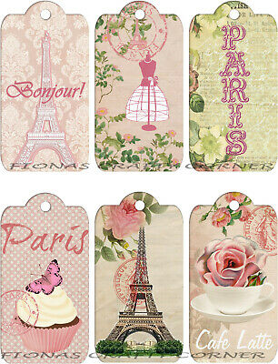 GIFT TAGS FOR SCRAPBOOK PAGES 15 FRENCH PARIS BIRDS FLORAL BONJOUR HANG 06