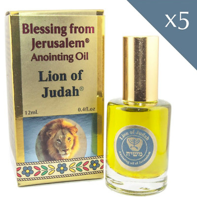Lot 5 pcs Anointing Oil Lion of Judah Blessing Jerusalem Biblical Spice 12 ml