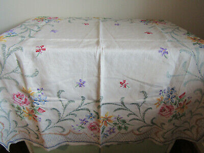 "Antique White Embroidered Cross Stiched Linen Tablecloth 40"" x 44"""