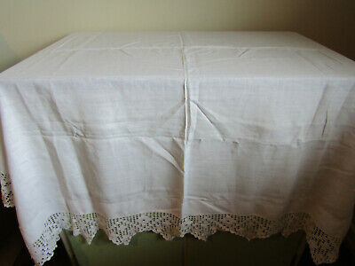"Antique White Embroidered Lace Edged Monogrammed Tablecloth 50"" x 50"""