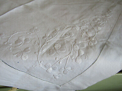 "Antique Small White Embroidered Linen Tablecloth 23"" x 31"""