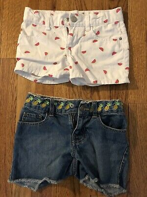 Lot Girls 2 Pair Children's PlaceDenim Shorts White Watermelon & Pineapple 6x/7