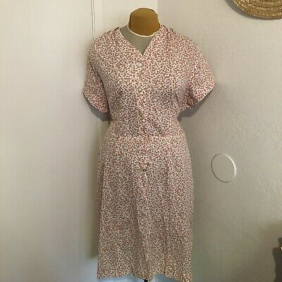 Vintage 30s 40s Ditzy Floral House Dress Button Front Volup 2x
