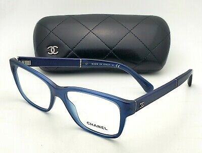 c65b3a1146c5 New CHANEL Eyeglasses 3310-Q 1509 52-16 140 Blue Frame with Blue Leather