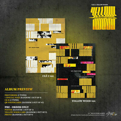"""[STRAY KIDS]""""Cle 2:Yellow Wood"""" (Normal-SET) 2CD+2Book+Card+etc+2PreGift+2POSTER"""