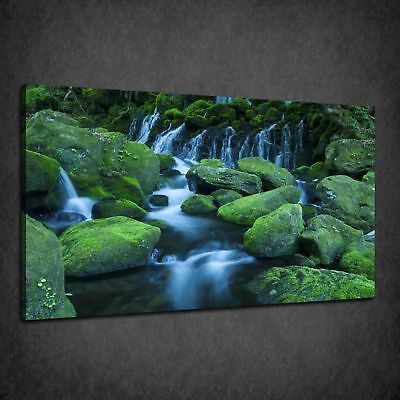 Beautiful Relaxing Waterfall Green Box Canvas Print Wall Art Picture