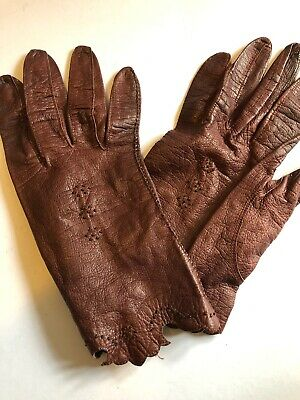 Vintage Gloves Brown Made in France Size 6.5