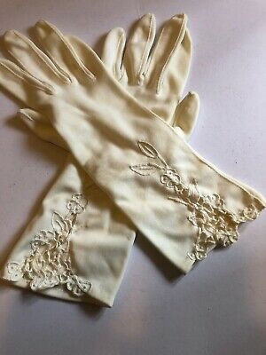 Vintage Gloves Nylon Simplex Made in Italy Size 6.5 Cream