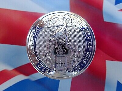 2019 GB 2 oz. Queen's Beast YALE OF BEAUFORT coin .9999 ultra-fine silver