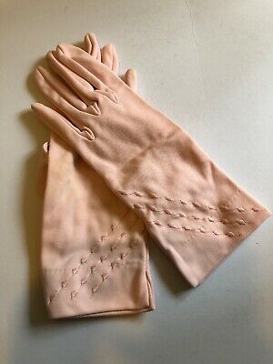 Vintage Gloves Soft Pink Egllins Gloves NSW 100% Nylon Size 6.5