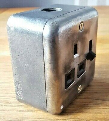 Crabtree Factory Industrial Socket Power Light Switch Salvaged Reclaimed 3 Pin