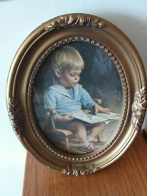 Vtg Boy reading book Ornate Oval Gold Art Deco Style Resin Picture Frame 8x6