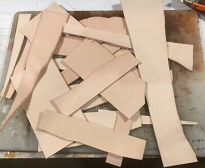 300 grams VEG Tanned tooling Leather offcuts remnants assorted pieces RATS BUM
