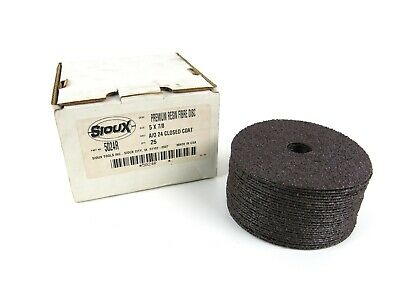"""Sioux Tools 25 Pack of 5"""" x 7/8""""  Fibre Sanding Disc 24 Grit - USA Made"""