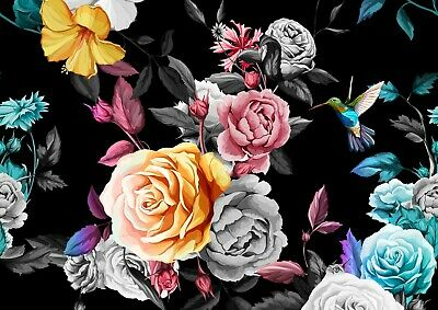 A4| Pretty Roses Poster Size A4 Rose Flowers Hummingbird Poster Gift #14687
