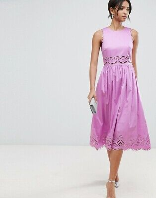 7b7931555a5f TED BAKER lilac purple pink floral embroidered midi dress summer party 5 16  XL