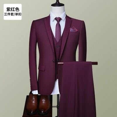 Mens Suit 3 Piece Jackets Vest Waistcoat Pants Wedding Business Professional New