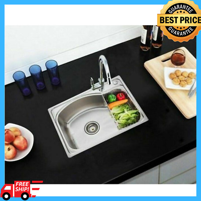 Small Modern Square Kitchen Sink Single Stainless Steel Basin With Plumbing Kit
