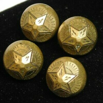 Lot of (4) Antique Victorian Solid Brass Cut Steel Star Picture Buttons L@@K172