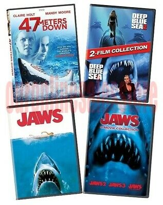 Jaws Deep Blue Sea 47 Meters Down Shark Movie Collection DVD Set Film Horror Lot