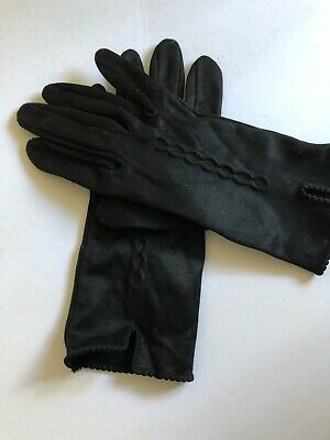 Vintage Gloves Black Nylon unmarked Size 6.5