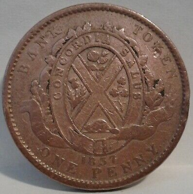 1837 PROVINCE OF LOWER CANADA ONE PENNY BANK TOKEN (With Period)