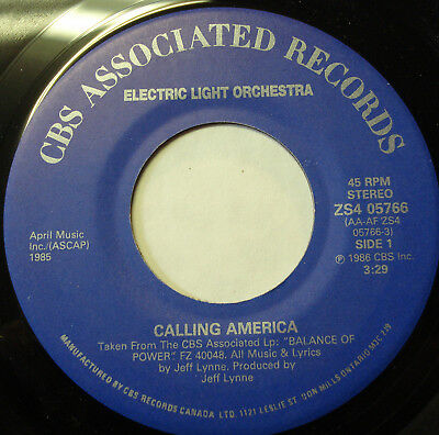 "ELECTRIC LIGHT ORCHESTRA ""Calling America"" 45rpm  in Canada"