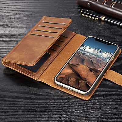 For iPhone XS Max XR Case Magnetic Detachable Leather Flip Card Slot Stand Cover