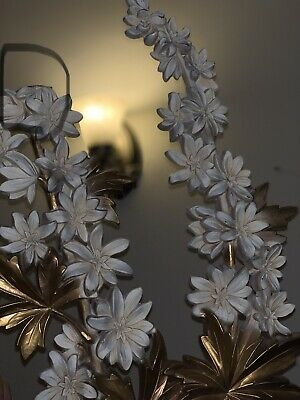 Vtg Large Syroco Wood Gold White Flower Branch Pair Decorative Hanging Wall Art
