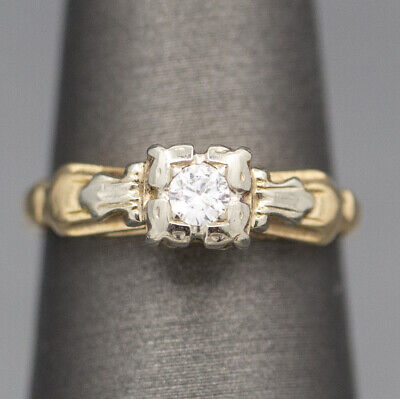 Vintage Art Deco 0.10ct Petite Diamond Engagement Ring 14k White & Yellow Gold