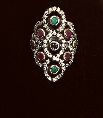 Antique Style Silver & Bronze Blue Sapphire Ruby Emerlad Tooaz Ring Size 7.5