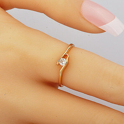 Fashion Jewelry Yellow Gold Plated Clear Cubic Zirconia Womens Ring Size 7.5