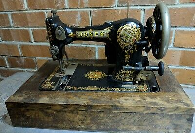 Vintage Ornate Jones Family CS Sewing Machine Electric with Wooden Case