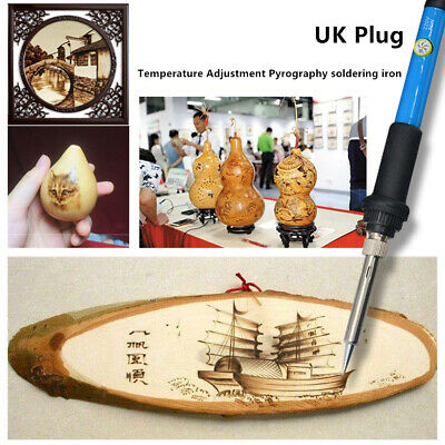 NEW UK Plug Wood Burning Pen Set Stencil Soldering Tips Tools Pyrography Kit